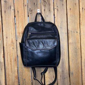 Hillard and Handson Black Leather Backpack